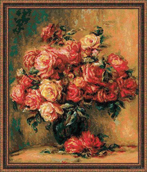 """Вышивка крестом """"О. Ренуар. Букет роз"""" (400х480 мм) — фото, картинка"""