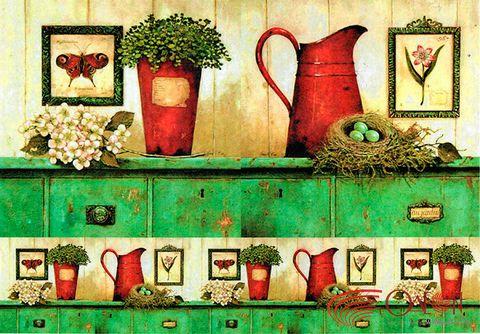 """Бумага для декупажа рисовая """"Кухня в стиле ретро №1"""" (210х290 мм)"""
