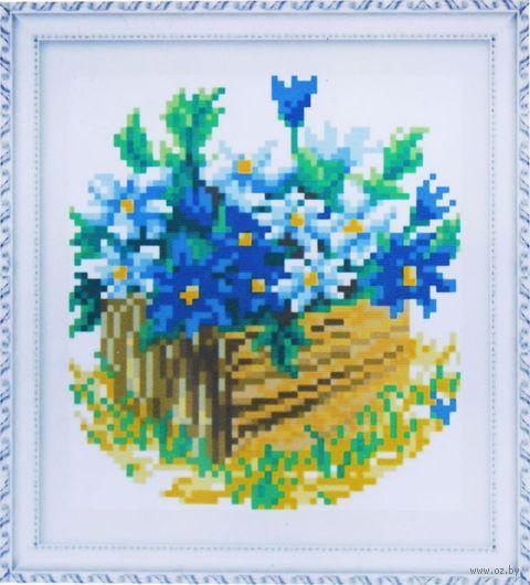 """Алмазная вышивка-мозаика """"Синие цветы"""" (150х170 мм) — фото, картинка"""