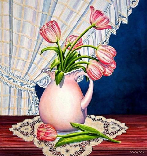 "Алмазная вышивка-мозаика ""Тюльпаны у окна"" (410х430 мм) — фото, картинка"
