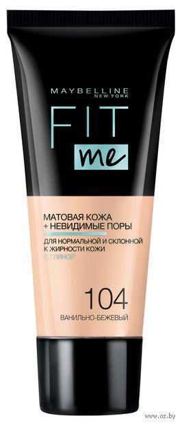 """Тональный крем для лица """"Fit Me"""" (тон: 104, ванильно-бежевый) — фото, картинка"""