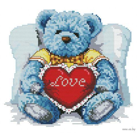 """Вышивка крестом """"Медвежонок с сердцем"""" (165x180 мм) — фото, картинка"""