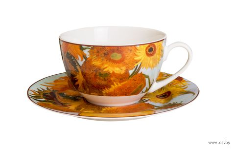 "Чашка с блюдцем ""Ван Гог. Подсолнухи"" — фото, картинка"
