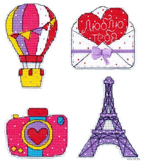"""Вышивка крестом """"Путешествие в Париж"""" (60х95 мм; на магните) — фото, картинка"""