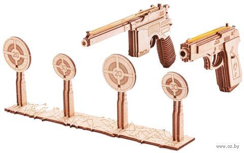 """Сборная деревянная модель """"Набор пистолетов с тиром"""" — фото, картинка"""