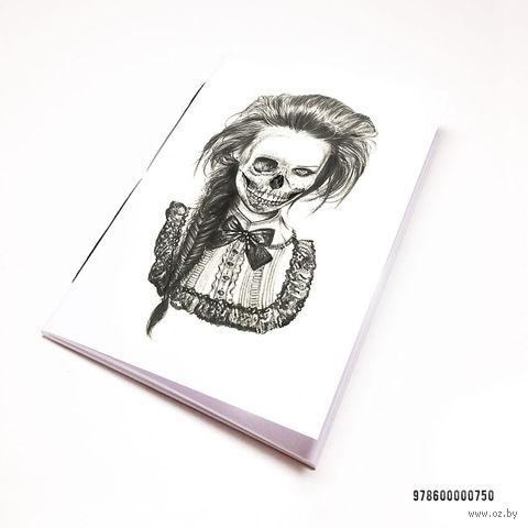 """Блокнот белый """"Девушка-скелет"""" А7 (750)"""