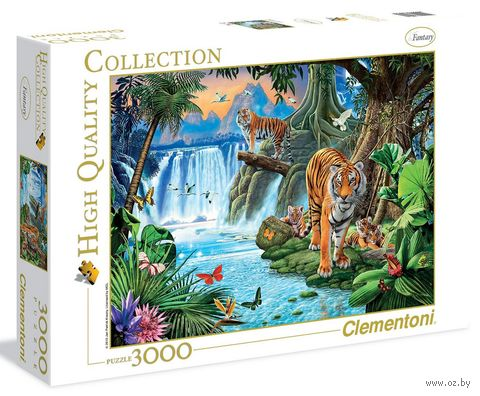 "Пазл ""Тигры у водопада"" (1500 элементов) — фото, картинка"