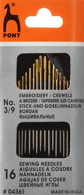 Иглы для шитья №3-9 (16 шт.) — фото, картинка