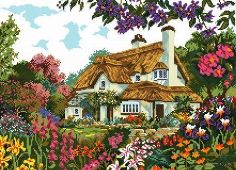 """Вышивка крестом """"Цветы у дома"""" (290x400 мм) — фото, картинка"""
