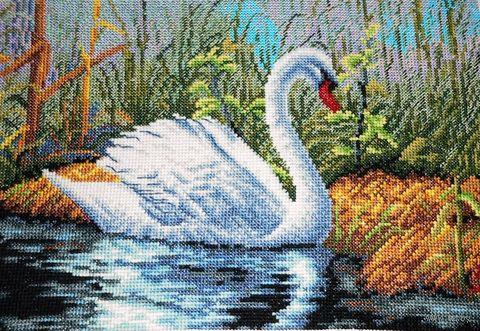 """Вышивка крестом """"Белый лебедь"""" (285x200 мм) — фото, картинка"""