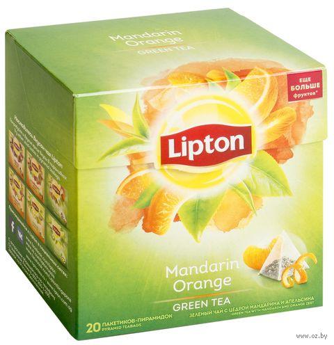 """Чай зеленый """"Lipton. Mandarin Orange"""" (20 пакетиков) — фото, картинка"""
