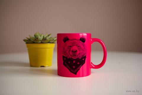 "Кружка ""Медведь"" (розовая) — фото, картинка"