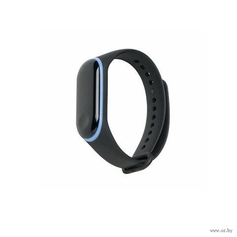 Ремешок для Xiaomi Mi Band 3 и Mi Band 4 (черный с синим) — фото, картинка