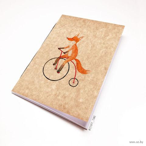 """Блокнот крафт """"Лиса на велосипеде"""" (А7; арт. 794) — фото, картинка"""
