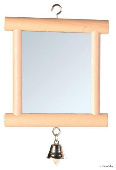"""Игрушка для птиц """"Зеркальце с колокольчиком"""" (9х10 см) — фото, картинка"""