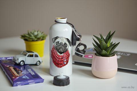 """Бутылка """"Мопс в шарфе"""" (600 мл; арт. 55) — фото, картинка"""
