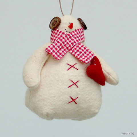 """Кукла ручной работы """"Снеговик"""" (с красным сердцем) — фото, картинка"""