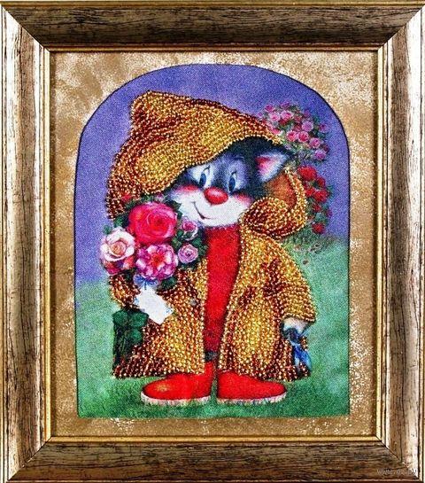 "Вышивка бисером ""Кот с букетом"" (120х160 мм) — фото, картинка"