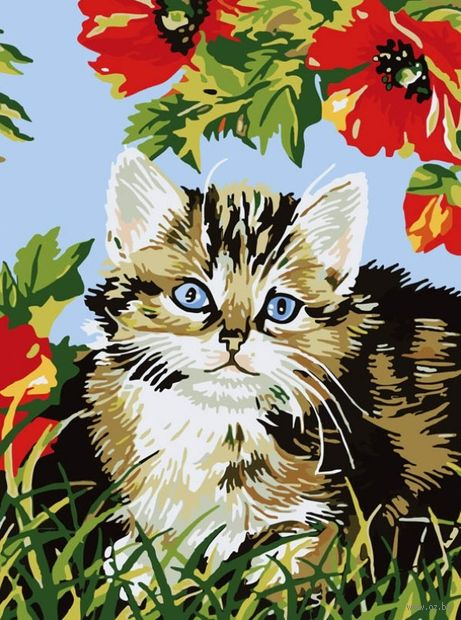 "Картина по номерам ""Котёнок в цветах"" (400х300 мм) — фото, картинка"