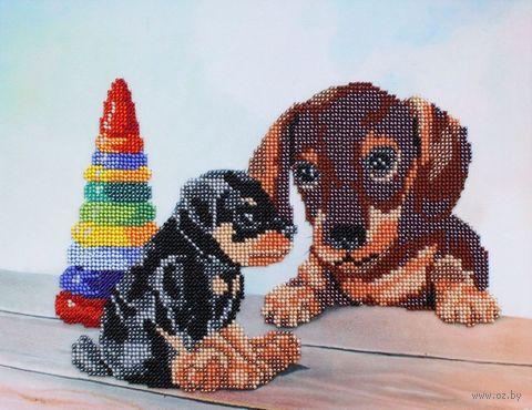 "Вышивка бисером ""Два щенка"" (300х230 мм) — фото, картинка"