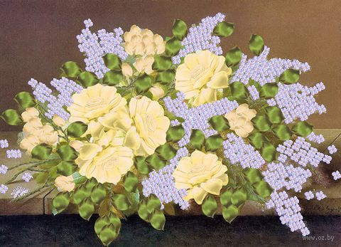 "Вышивка лентами ""Букет из белых роз и сирени"" (360х260 мм) — фото, картинка"