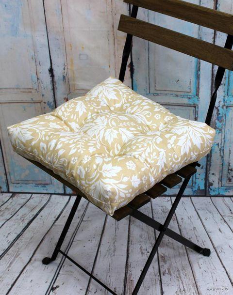 "Подушка на стул ""Printed"" (40х40 см; бело-желтая) — фото, картинка"