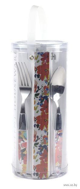 Набор столовых приборов металлических с пластмассовыми ручками (16 предметов)