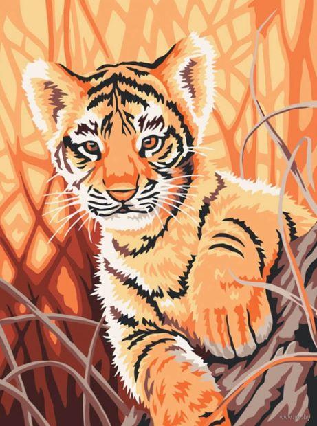 "Картина по номерам ""Тигренок в джунглях"" (300х400 мм) — фото, картинка"