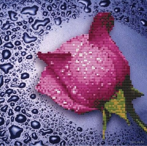 "Алмазная вышивка-мозаика ""Розовая роза"" (250х250 мм) — фото, картинка"