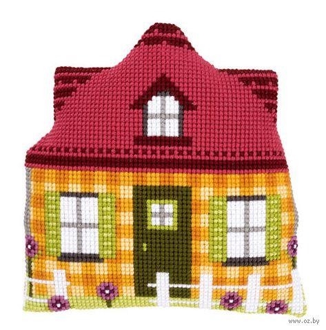 "Вышивка крестом ""Подушка. Жёлтый дом"" (400х400 мм) — фото, картинка"