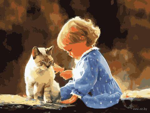 "Картина по номерам ""Малыш с котом"" (400х500 мм) — фото, картинка"