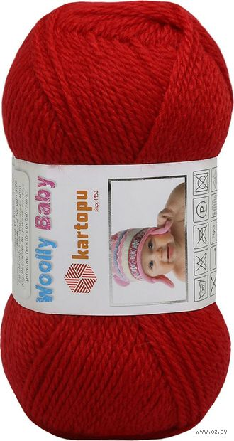"Пряжа ""KARTOPU. Woolly Baby №K150"" (50 г; 148 м; красный) — фото, картинка"
