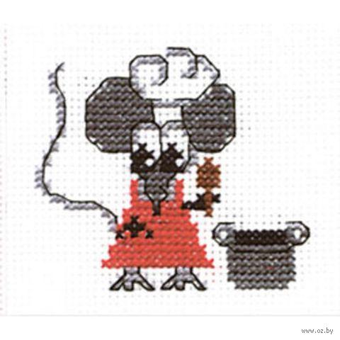 """Вышивка крестом """"Мышка-хозяйка"""" (60х60 мм) — фото, картинка"""