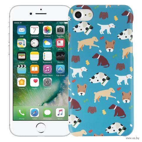 "Чехол для iPhone 7/8 ""Собачки"" (голубой) — фото, картинка"