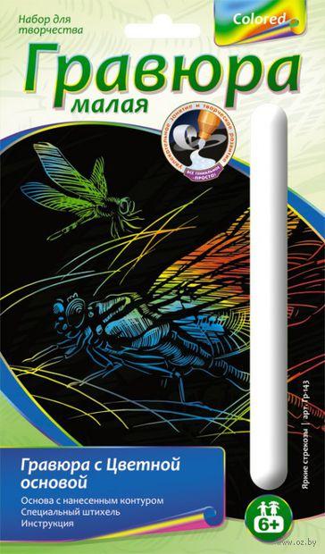 """Гравюра """"Яркие стрекозы"""" (голографическая) — фото, картинка"""