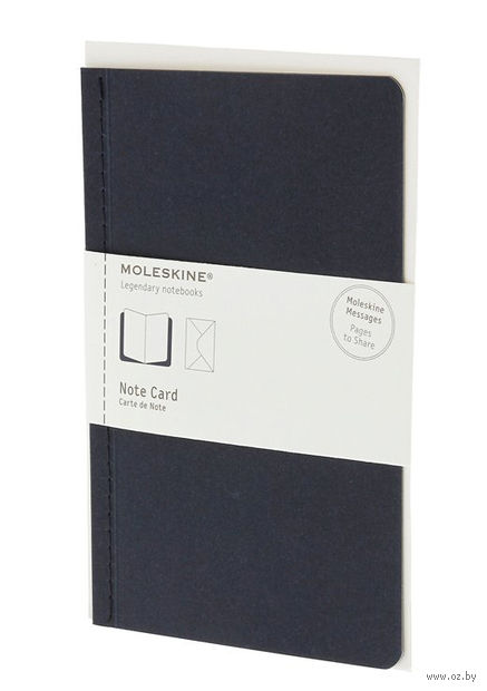"""Почтовый набор Молескин """"Note Card"""" с конвертом (большой; мягкая синяя обложка)"""