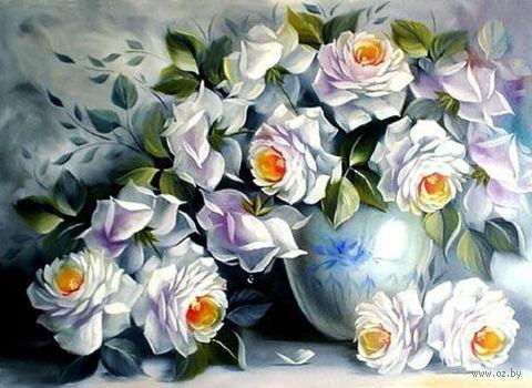 """Алмазная вышивка-мозаика """"Белые розы"""" (450х600 мм) — фото, картинка"""