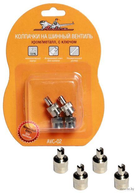 Колпачки на шинный вентиль с ключом (4 шт.; арт. AVC-02) — фото, картинка