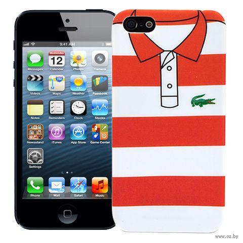 Чехол для iPhone 5/5S Red and White Stripes (красный) — фото, картинка
