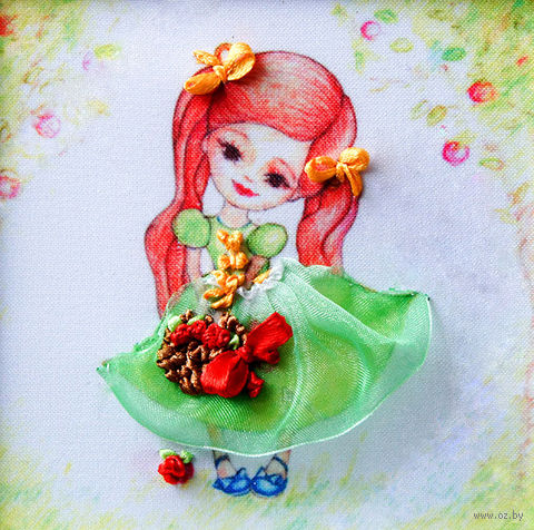 "Вышивка лентами ""Девочка"" (135х135 мм; арт. ВЛДС0007) — фото, картинка"