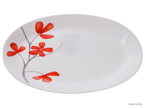 "Блюдо стеклокерамическое ""Цветок вишни"" (320 мм) — фото, картинка"
