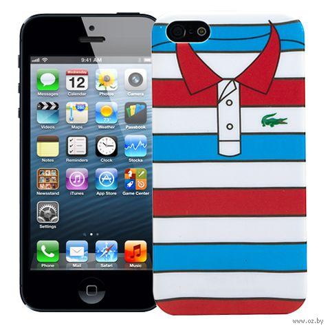 "Чехол для iPhone 5/5S ""Red with Blue Stripes"" (голубой) — фото, картинка"