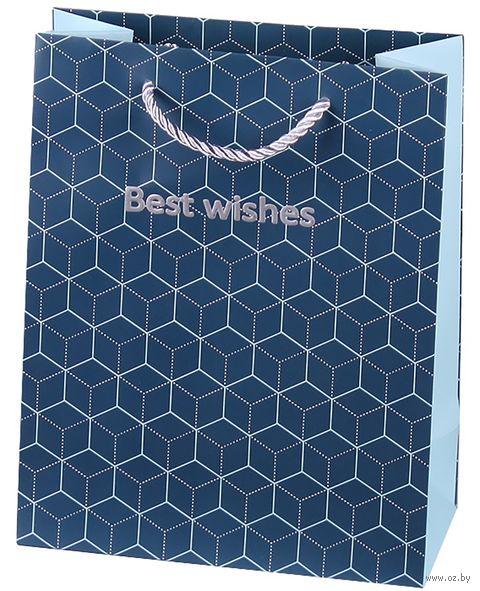"Пакет бумажный подарочный ""Best wishes"" (19,5х24,5х9,5 см) — фото, картинка"