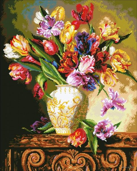 """Алмазная вышивка-мозаика """"Букет тюльпанов"""" (500x620 мм) — фото, картинка"""