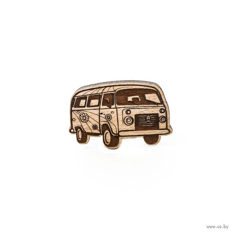 """Значок деревянный """"Автобус Хиппи"""" — фото, картинка"""