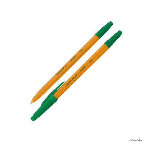 """Ручка шариковая """"Corvina"""" (оранжевая; зеленый стержень)"""