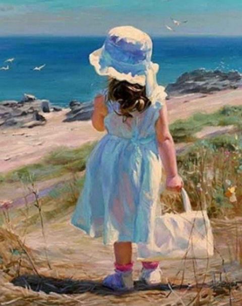 """Алмазная вышивка-мозаика """"Девочка у моря"""" (400х500 мм) — фото, картинка"""