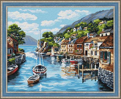 "Картина по номерам ""Лодки у причала"" (400х500 мм) — фото, картинка"