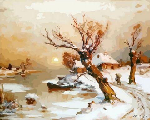 "Картина по номерам ""Деревня в снегу"" (400x500 мм) — фото, картинка"