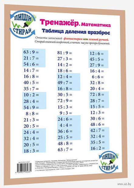 Тренажёр. Математика. Таблица деления вразброс — фото, картинка